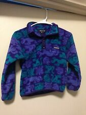 Vintage Patagonia Youth Fleece Jacket 8 Purple Green  Made in the USA
