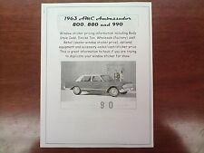 1963 AMC Ambassador factory cost/dealer sticker pricing for car + options