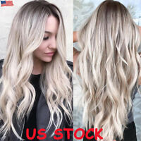 US Balayage Women Curly Hair Full Wig Natural Long Wavy Ombre Black Blonde Wigs