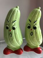 Vintage Japan Salt And Pepper Shakers Anthropomorphic Pickles