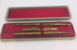 Antique Brass Ornate Repousse Knife Fountain Dip Pen & Pencil Set