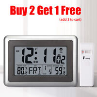 Digital Atomic Wall Clock Table Alarm Snooze Clock Out/Indoor Temperature Date