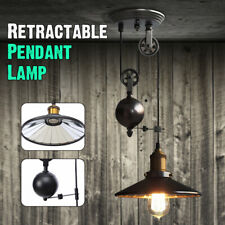 E27 Vintage Edison Industrial Pulley Pendant Light Adjustable Retractable Lamp