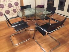 USM Haller glass meeting or dining table with 4 Matteograssi leather chairs