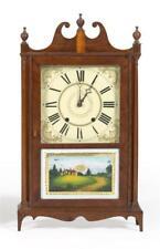 Eli Terry Pillar And Scroll Shelf Clock Mahogany veneer case. Revers. Lot 1290