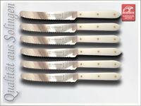 6 x Frühstücksmesser-Tafelmesser Wellenschliff POM Griffschalen Solingen.