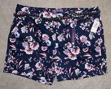 New Gloria Vanderbilt 24W Shorts Blue Floral Braid Belt Cotton Stretch