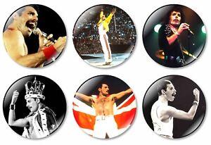 6 x Freddie Mercury 32mm BUTTON PIN BADGES Queen Band Music Album Rock Bohemian