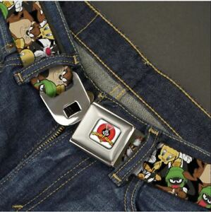 Buckle Down Seatbelt Belt - Looney Tunes Logo 6 Characters Cartoon Collage  USA
