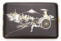 Vintage Japanese Iron Gold Silver Damascene Cigarette Case Komai Rickshaw Woman