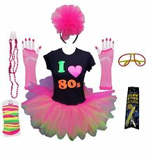 I LOVE 80s NEON PINK TUTU 80'S FANCY DRESS T SHIRT SET LEG WARMERS GLOVES BEADS