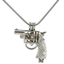 """Pick a Pearl Gun Locket Pendant Bead Cage 22"""" Stainless Steel Snake Chain S-KP11"""
