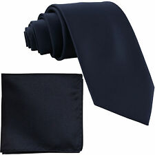 "New Polyester Men's 2.5"" Neck Tie & hankie formal wedding prom navy blue"