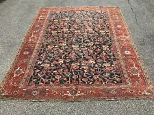 New listing Antique hand knotted wool Heriz / Serapi blue field with all over pattern 9 x 12