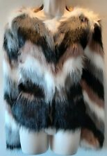 Ladies Faux fur coat multi grey black stripe cream shaggy teddy size Medium