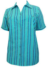 Womens Plus Size 34/36 38/40 Striped Blouse Crinkle Cotton Shirt Turquoise 257