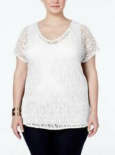 NEW NY Collection 2 Piece Plus Size V Neck Crochet Cream Blouse Radiogram, 1X