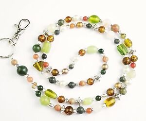 Beaded Lanyard~Natural Stone, Glass Beads & Silver~Badge ID Holder
