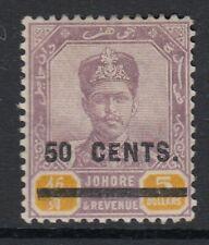 Malaya Johore 1904 KEVII 50c on $5 dull purple & yellow SG60. Sc58-Mounted mint