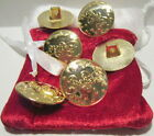 """6 Piece Giant 1 3/8"""" Bright Gold Sew On Type Santa Claus Suit Buttons"""