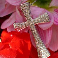Brillant Kreuz Anhänger mit Kette 2.03 ct 750er Weißgold