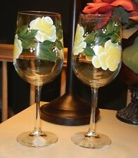 hand painted rose wine glasses - set of 2