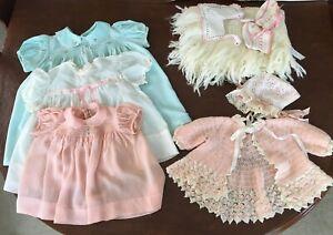 Vintage Baby Girl Clothes Layette Lot Sweater Dresses NOS Fringe Blanket Bonnet