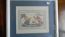 Framed Cross Stitch Sing Along Pair Nursery Baby It'S Raining 15x13 Jca New