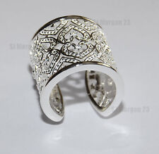 Heart Design Wide Hallmarked Sterling Silver 925 Ring. Open back.