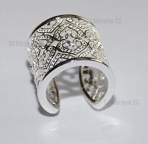 Heart Design Wide Hallmarked Sterling Silver 925 Ring. Open back.