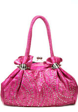 Pink. Designer Inspired Studded tote Western Kiss-Lock Braded Handbag. Purse