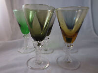 5 MID CENTURY VINTAGE TWISTED STEM COLORED CORDIAL GLASSES GLASS 3 OUNCES