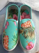 Emma Shoes By... Tropical Beach Canvas Slip On Shoes UK SIZE 3 EU 36