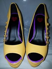 Bebe 2b Dare Me Open Toe Pump Size 7 and 10 Yellow and Purple Peekaboo Buckles