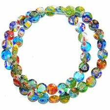 G3568L Assorted Multi-Color Mix 8mm Flat Round Millefiori Flower Glass Beads 13""