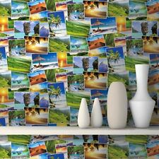 NEW MURIVA TROPICAL PHOTO COLLAGE PATTERN PARADISE HOLIDAY WALLPAPER J81304