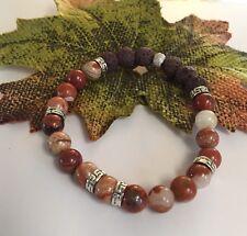 Aromatherapy Jasper Bracelet Chakra Healing Balance Lava Stone Meditation Beads
