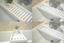 WHITE BAMBOO WOOD OVER BATH TUB RACK BATHROOM STORAGE SHELF TIDY TRAY ORGANIZER
