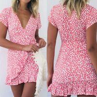 New Women Ladies Short Sleeve Floral Wrap Dresses Deep V-neck Ruffles Mini Dress