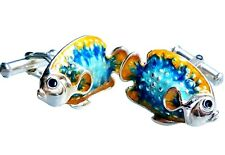 TROPICAL FISH CUFFLINKS, STERLING SILVER, ENAMEL by G.DANILOFF&CO. USA