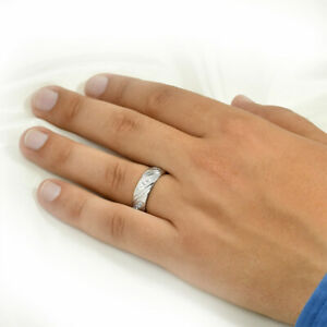 8mm Sterling Silver Mens 0.50ct Eternity Anniversary Wedding Band Ring Size 8-12