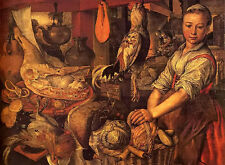 Oil painting joachim beuckelaer - interior of a kitchen with young woman canvas