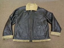 WILSONS LEATHER JACKET BOMBER B-3 M MEN SHEARLING SHERPA BROWN MOTORCYCLE
