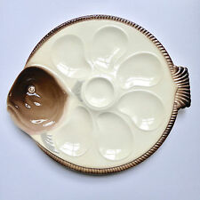 Longwy French Majolica Oyster Plate Platter Antique Fish Shaped Porcelain 1920's