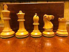 Atq British Howard Staunton Complete Chess Set & Mahogany Box C-1910