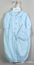 NWT Petit Ami Boys Blue Pinstripe Train Bag Gown 2pc Hat Preemie Daygown Baby