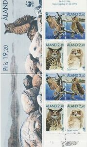 Aland Owls Great Horned Owl Eagle Birds Mint MNH Aland Finland Booklet 1996 WWF