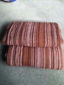 """PAIR VINTAGE 1970s HEAVY, STRIPED BROWN CURTAINS 70"""" WIDE X 74"""" DROP"""