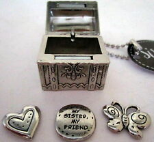 "2.5 X 2CM SILVER ""SISTER"" TREASURE BOX WITH 3 LITTLE CHARMS CUTE CHRISTMAS GIFT"