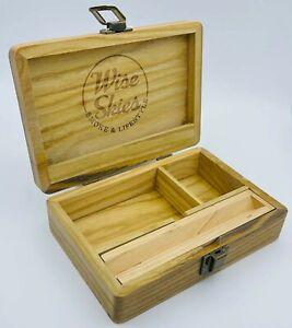 Wise Skies Wooden Rolling Box Medium Storage Smoking Paper Holder Stash Gift Set